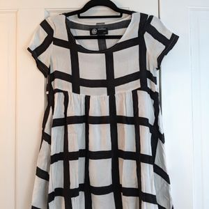 American Apparel Grid Print Babydoll Dress